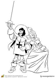Coloriage Des 3 Mousquetaires D Artagnan Et La Reine De France