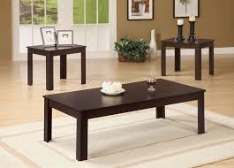 3 pcs dark walnut coffee table set
