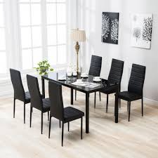 kenwell 7 piece dining table set 6 chairs black glass metal kitchen room