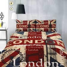 Retro London Big Ben Union Jack Quilt Doona Cover Set Single ...