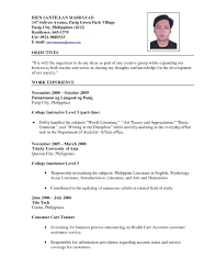 Sample Teaching Resume Format Of Teacher Resume Refrence Interesting Resume Sample For 24