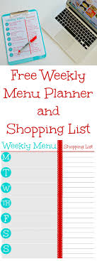 weekly menue planner free printable weekly menu planner and grocery shopping list