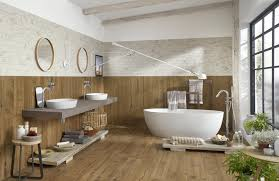 wood effect tiles on bathroom walls