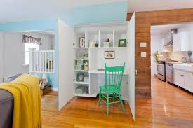 liddy inspiration for an eclectic home office remodel in new york with a built in desk built desk small home office