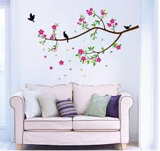 birds on flower branch wall decal large
