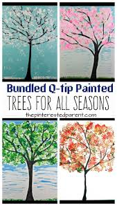 best ideas about fall winter spring summer easy bundled q tip stamped tree paintings for every season winter spring