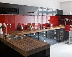 Rot Schwarz Weiß Küche Dekor Ideen Mit Holz Arbeitsplatte
