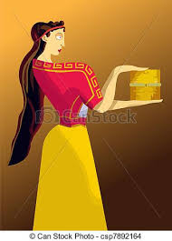 pandora s box women in ancient greek costume holding a box  pandora s box vector