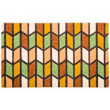 Entryways Rectangle Stripes 16 in. x 27 in. Wire Brush Coir Door ...