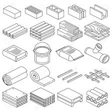 建築建設材料線形アイコン建設建材セメント材レンガ素材イラスト