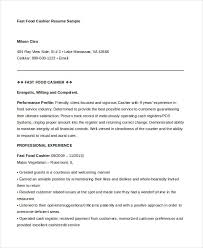 Fast Food Resume Simple 28 Cashier Resume Templates PDF DOC Free Premium Templates
