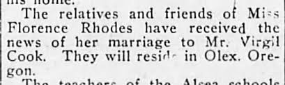 Virgil Cook and Florence Rhodes marriage Albany Oregon 02 Dec 1913 -  Newspapers.com