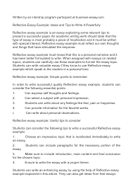 awesome collection of example of reflection essays in best ideas of example of reflection essays in cover letter