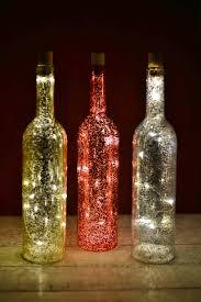 Lights For Wine Bottles Led Mercury Glass Bottles 135in Set Of 3 Event Lighting