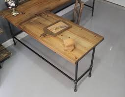 L Shaped Reclaimed Wood Corner Desk Top Surface And Cast Iron Pipe Legs  With Build Your