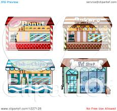 Clipart Of Donut Bakery Fish And Chips And Pet Shop Store Fronts