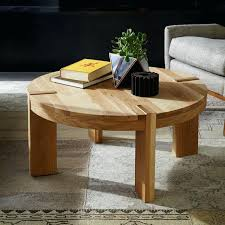 west elm round coffee table solid oak white parsons