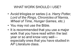 question the open ended essay question ppt video online what work should i use avoid trilogies or series i e harry potter lord of