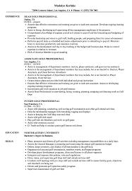 Golf Professional Resume Samples Velvet Jobs