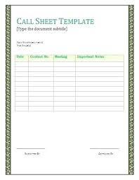 Customer Call Sheet Template Customer Call Sheet Template Call Sheet Template Word New