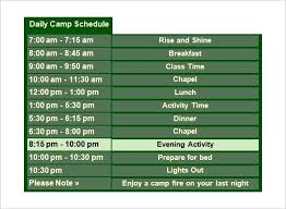 Summer Camp Daily Schedule Template Top Summer Camp Duty Roster Template Bigredstar Co