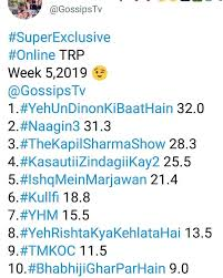 Trp Chart Of This Week Online Trp Chart Kzk2 At No 4
