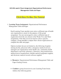 hcs week team assignment organizational performance management  hcs 451 week 4 team assignment organizational performance management table and paper