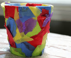 Paper Flower Pots Diy Flower Pot With Catchy Tissue Paper Collage Print