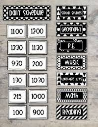 Black Classroom Calendar Pocket Chart Bold And Modern Black White Class Daily Schedule Pocket