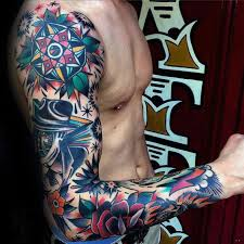 colorful tattoo sleeve designs. Simple Designs Colorful Male Traditional Sleeve Tattoo Designs To