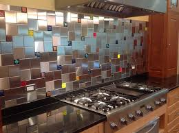 colorful glass accent tiles in backsplash by uneek glass fusionscontemporary kitchen sacramento