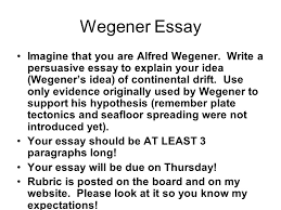 tuesday th ppt  wegener essay