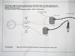 how to change a mechanical tach to an electronic one in line of each wire coming from each coil to prevent the pulse from coming back through the wire and triggering the wrong coil here s a diagram