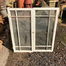 glass pine cupboard doors pair