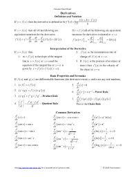 calculus review sheet derivatives cheat sheet calculus calculus cheat sheet_derivatives