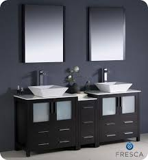 Modern double sink vanity Rectangular Fresca Torino 72 Espresso Modern Double Sink Bathroom Vanity Side Cabinet Vessel Sinks Luxury Bath Collection Fresca Torino 72