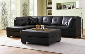 deluxe cheap furniture of black bonded leather sectional couch with chaise included thick padded tufted back affordable chaise indoor