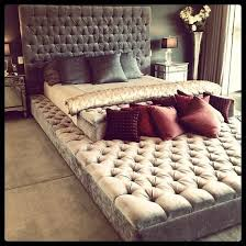 I want this bed! large bed with quilted or button tufted headboard and  built in