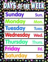 Days Of The Week Chart Fancy Stars Days Of The Week Chart