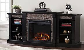 gallatin faux stone electric infrared fireplace with bookcases