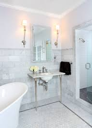 white carrara marble bathroom. Classical Bathroom Idea With Carrara Marble Wainscoting And White Freestanding Bathtub T