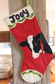 Christmas cow stockings felt project christmas stockings
