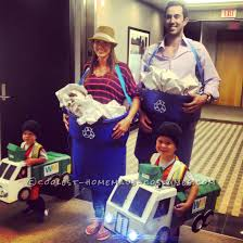 great diy costume idea for a family recycle bins and garbage truck family