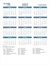 2022 united states calendar with holidays