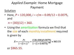 applied example home mortgage payment