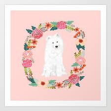 Samoyed dog breed floral wreath pet ...