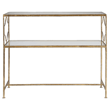 gold console table. Uttermost 24539 Genell Gold Iron Console Table