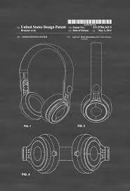 home theater headphones. beats headphone patent - print, wall decor, poster, home theater decor headphones