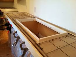 diy concrete countertops steel rebar was used in front of the sink the rest of the area use steel mesh wired to s to prevent it from sinking down