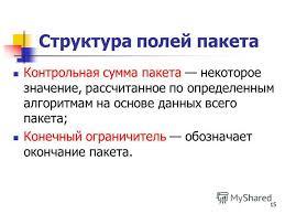 Презентация на тему Принципы пакетной передачи данных Борисов В  15 15 Структура полей пакета Контрольная